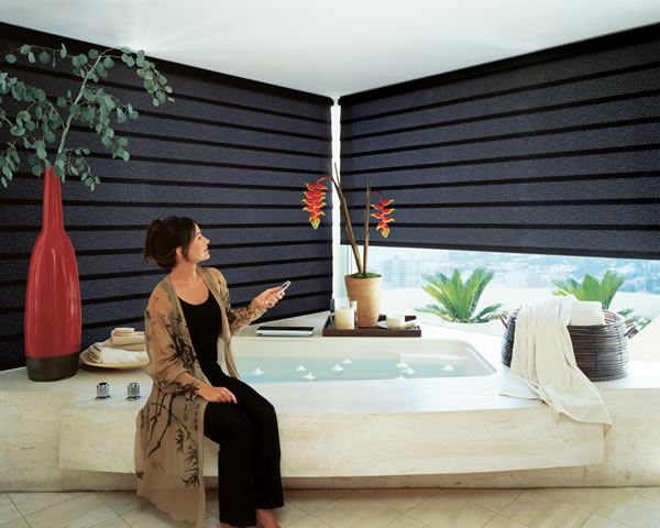 automated shades in bathroom