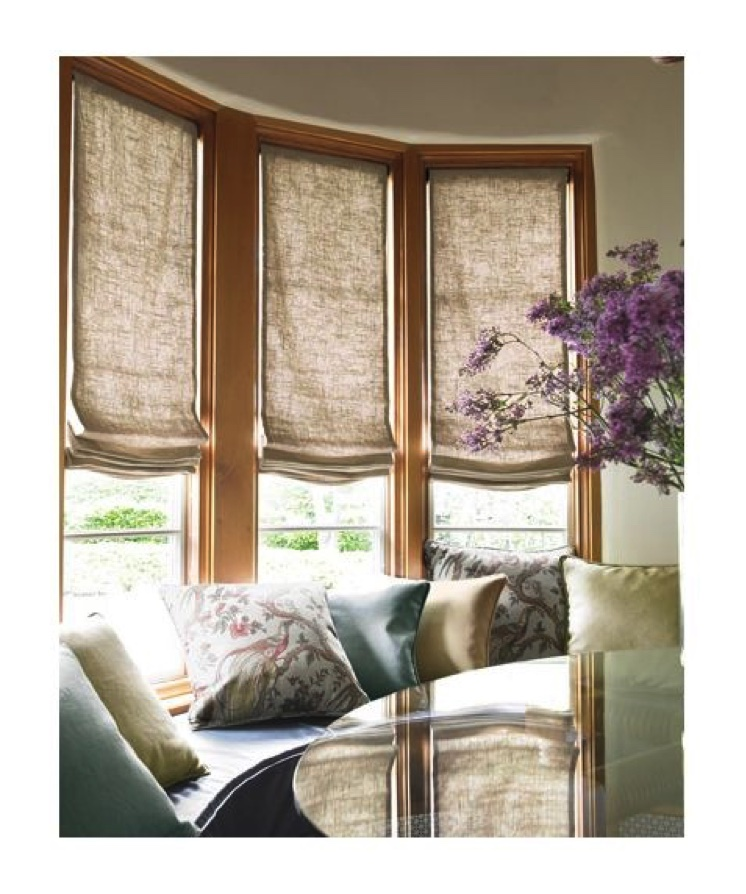 Window treatment ideas for bay windows for Roman shades for bay windows
